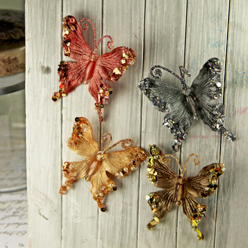 Prima - Fantasy Collection - Fabric Butterfly Embellishments - Bronze