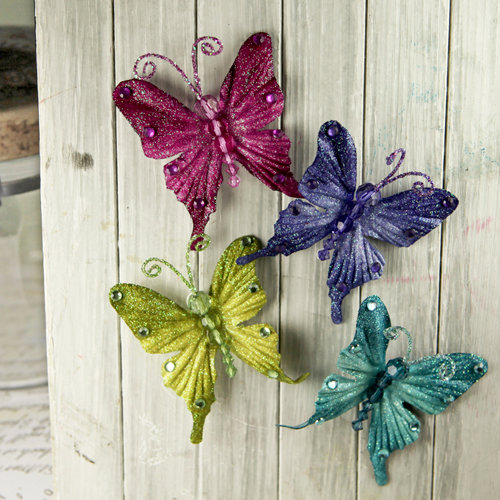 Prima - Fantasy Collection - Fabric Butterfly Embellishments - Jewel