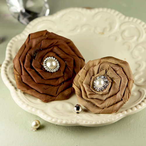 Prima - Coiled Pearls Collection - Fabric Flower Embellishments - Catherine