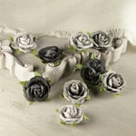 Prima - Sherwood Rose Collection - Mulberry Flower Embellishments - Ember