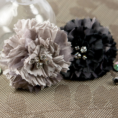 Prima - Carlotta Collection - Fabric Flower Embellishments - Smoke