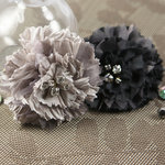 Prima - Carlotta Collection - Fabric Flower Embellishments - Smoke