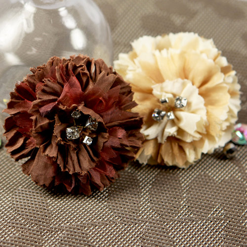 Prima - Carlotta Collection - Fabric Flower Embellishments - Latte