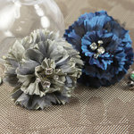 Prima - Carlotta Collection - Fabric Flower Embellishments - Blue Pearl