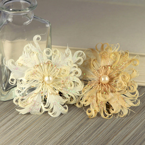 Prima - Le Coque Collection - Feather Flower Embellishments - Pearl