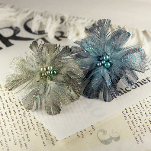 Prima - Regia Collection - Feather Flower Embellishments - Smoke