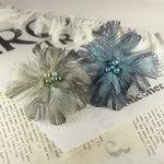 Prima - Regia Collection - Feather Flower Embellishments - Smoke