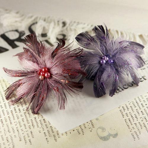 Prima - Regia Collection - Feather Flower Embellishments - Redwood