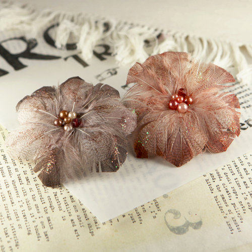 Prima - Regia Collection - Feather Flower Embellishments - French Roast