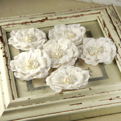 Prima ceylon collection fabric flower embellishments white wedding mightylinksfo