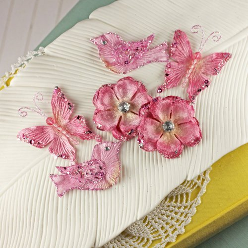 Prima - Melody Collection - Flower Butterfly and Bird Embellishments - Rose