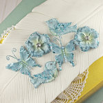 Prima - Melody Collection - Flower Butterfly and Bird Embellishments - Blue