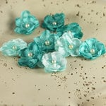 Prima - Bristo Blooms Collection - Fabric Flower Embellishments - Teal