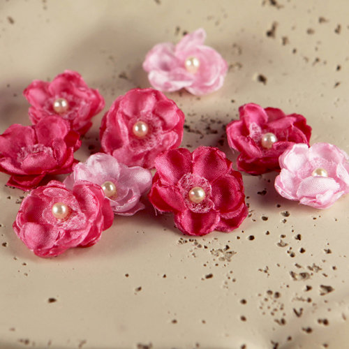 Prima - Bristo Blooms Collection - Fabric Flower Embellishments - Ruby