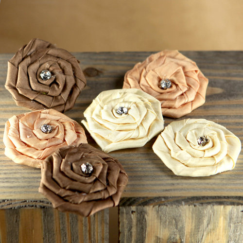 Prima - Allure Collection - Fabric Flower Embellishments - Mocha