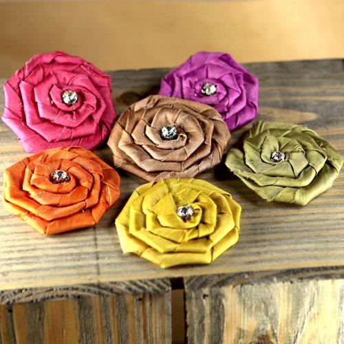 Prima - Allure Collection - Fabric Flower Embellishments - Jewel Mix