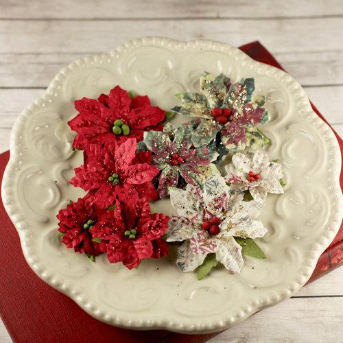 Prima - Holiday Collection - Christmas - Flower Embellishments - Crimson