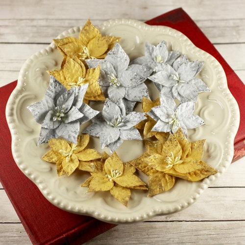 Prima - Holiday Collection - Christmas - Flower Embellishments - Metal