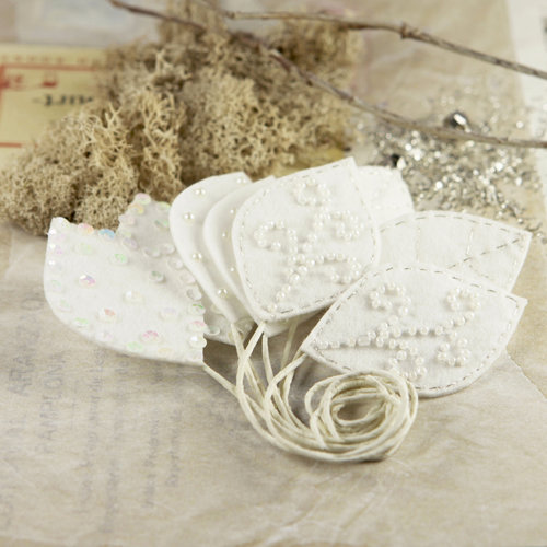 Prima - Vermont Collection - Fabric Leaves Embellishments - Ivory