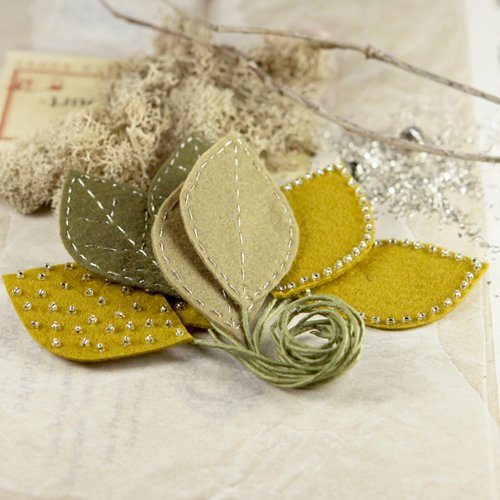 Prima - Vermont Collection - Fabric Leaves Embellishments - Ocre