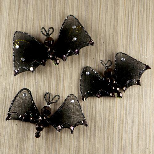Prima - Trick or Treats Collection - Halloween - Bat Embellishments - Night Flight