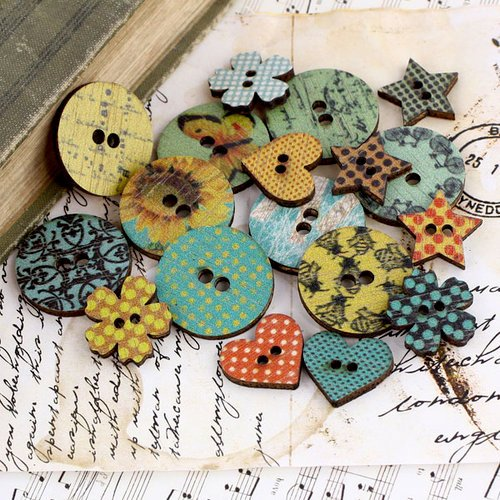 Prima - Sun Kiss Collection - Wood Embellishments - Buttons