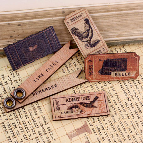 Prima - Almanac Collection - Wood Embellishments - Tickets