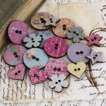 Prima - Meadow Lark Collection - Wood Embellishments - Buttons