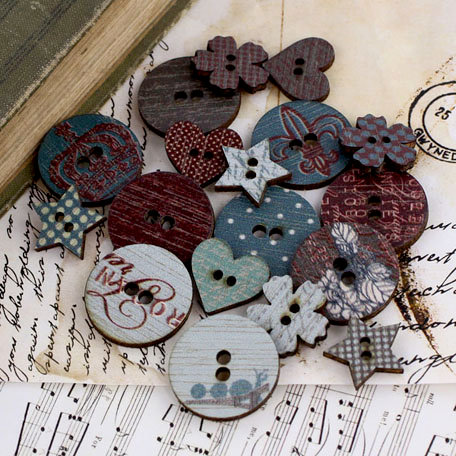 Prima - En Francais Collection - Wood Embellishments - Buttons