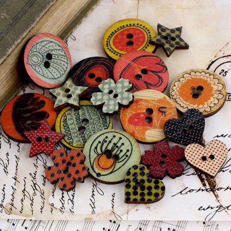 Prima - Doodle-Deux Collection - Wood Embellishments - Buttons