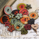 Prima - Doodle-Deux Collection - Wood Embellishments - Buttons
