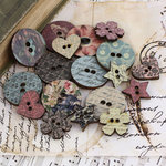 Prima - Fairy Belle Collection - Wood Embellishments - Buttons