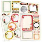 Prima - Doodle-Deux Collection - Chipboard Stickers with Glitter Accents