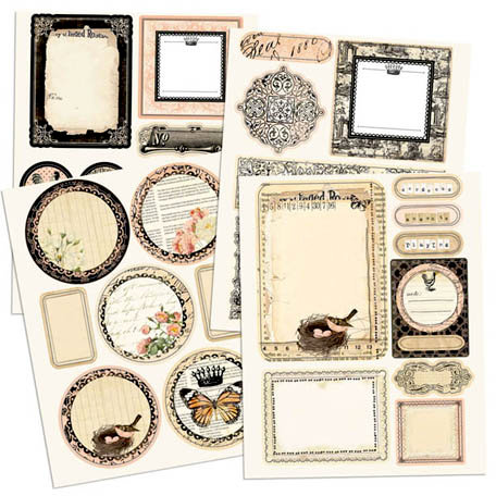Prima - Almanac Collection - Chipboard Stickers with Glitter Accents