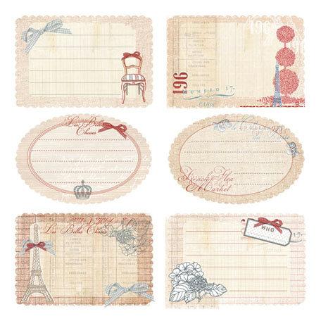 Prima - En Francais Collection - Journaling Notecards