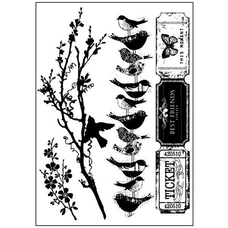 Prima - Songbird Collection - Cling Mounted Rubber Stamps
