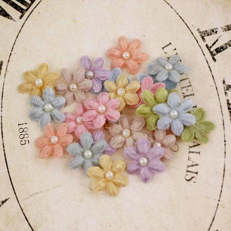 Prima - Velvet Rainbow Collection - Fabric Flower Embellishments - Pastel