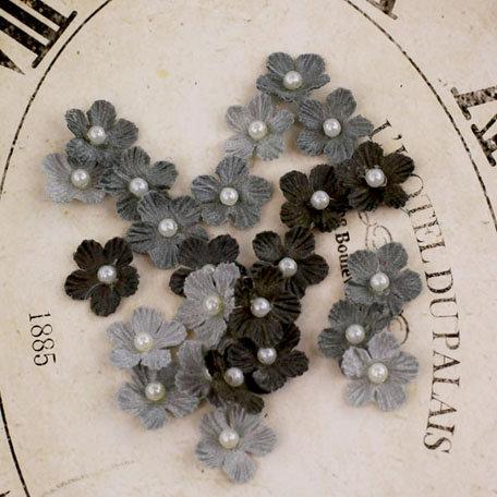 Prima - Velvet Rainbow Collection - Fabric Flower Embellishments - Dove Grey