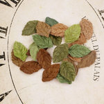 Prima - Velvet Rainbow Collection - Fabric Leaves Embellishments - Naturals