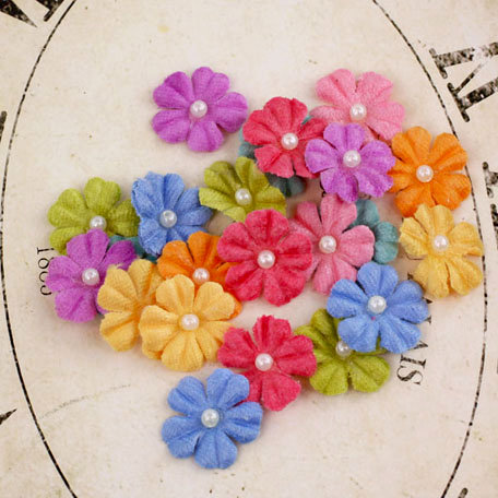 Prima - Velvet Rainbow Collection - Fabric Flower Embellishments - Summer Mix