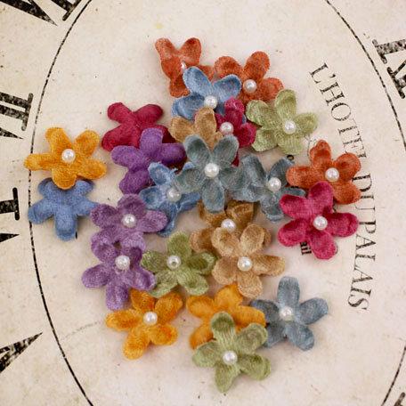 Prima - Velvet Rainbow Collection - Fabric Flower Embellishments - Vintage