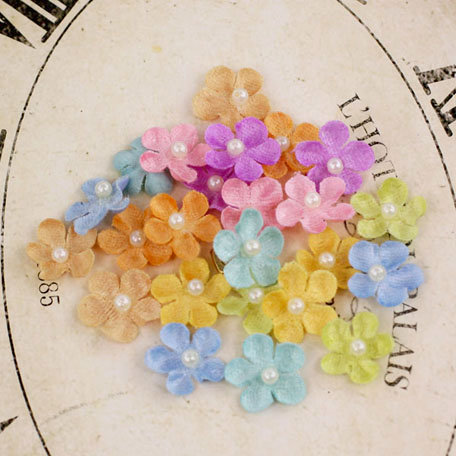 Prima - Velvet Rainbow Collection - Fabric Flower Embellishments - Spring Mix