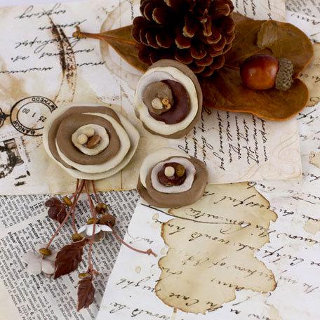 Prima - Laredo Collection - Leather Flower Embellishments - Buckskin