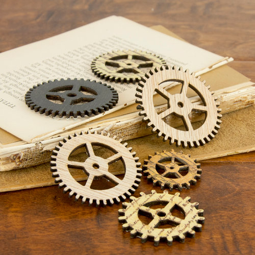 Prima - Wood Embellishments - Gear