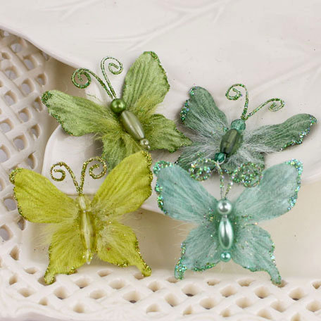 Prima - Mariposa Collection - Fabric Butterfly Embellishments - Meadow