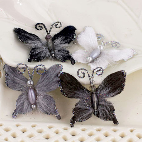 Prima - Mariposa Collection - Fabric Butterfly Embellishments - Ash