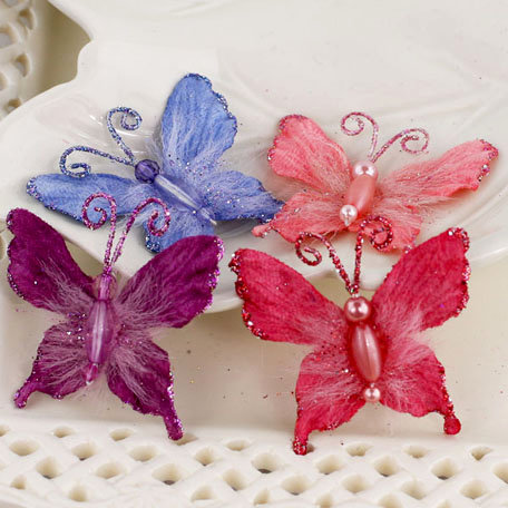 Prima - Mariposa Collection - Fabric Butterfly Embellishments - Berry