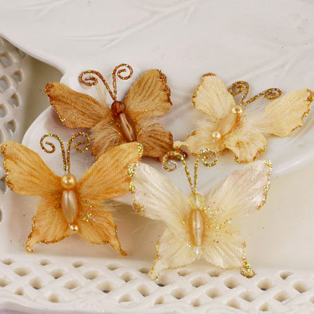 Prima - Mariposa Collection - Fabric Butterfly Embellishments - Topaz