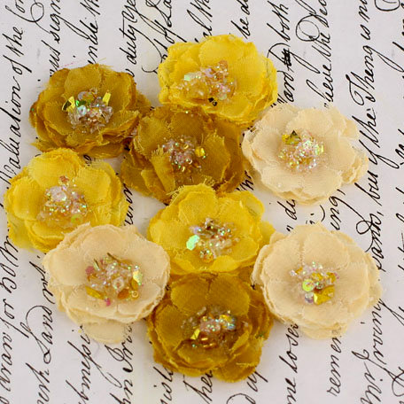 Prima - Tasha Collection - Fabric Flower Embellishments - Gold