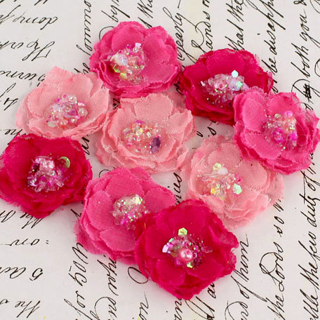 Prima - Tasha Collection - Fabric Flower Embellishments - Ruby